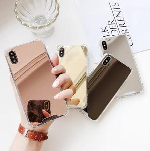 china quadrangle drop resistance tpu soft side reflective mirror back phone case for iphone