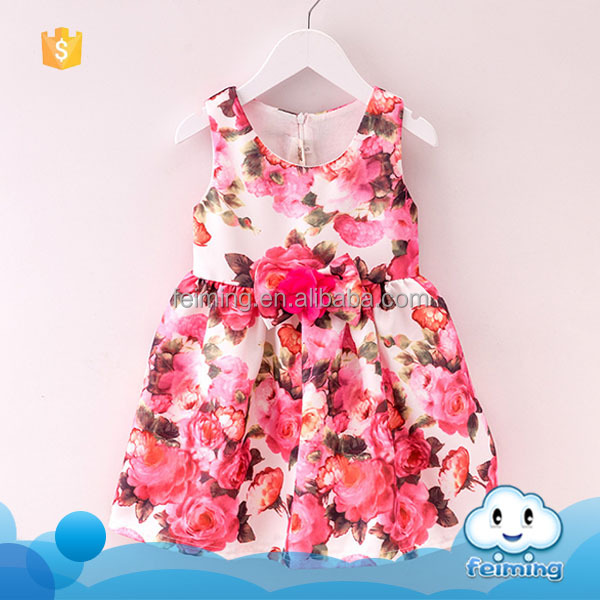 Summer children girls cotton frock designs one piece flower polka dot fresh elegant stylish children girl dress of 2-7 years old