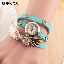 Modern Style Ladies Long leather Strap Fashion Angel Wings Womans Bracelet Watch