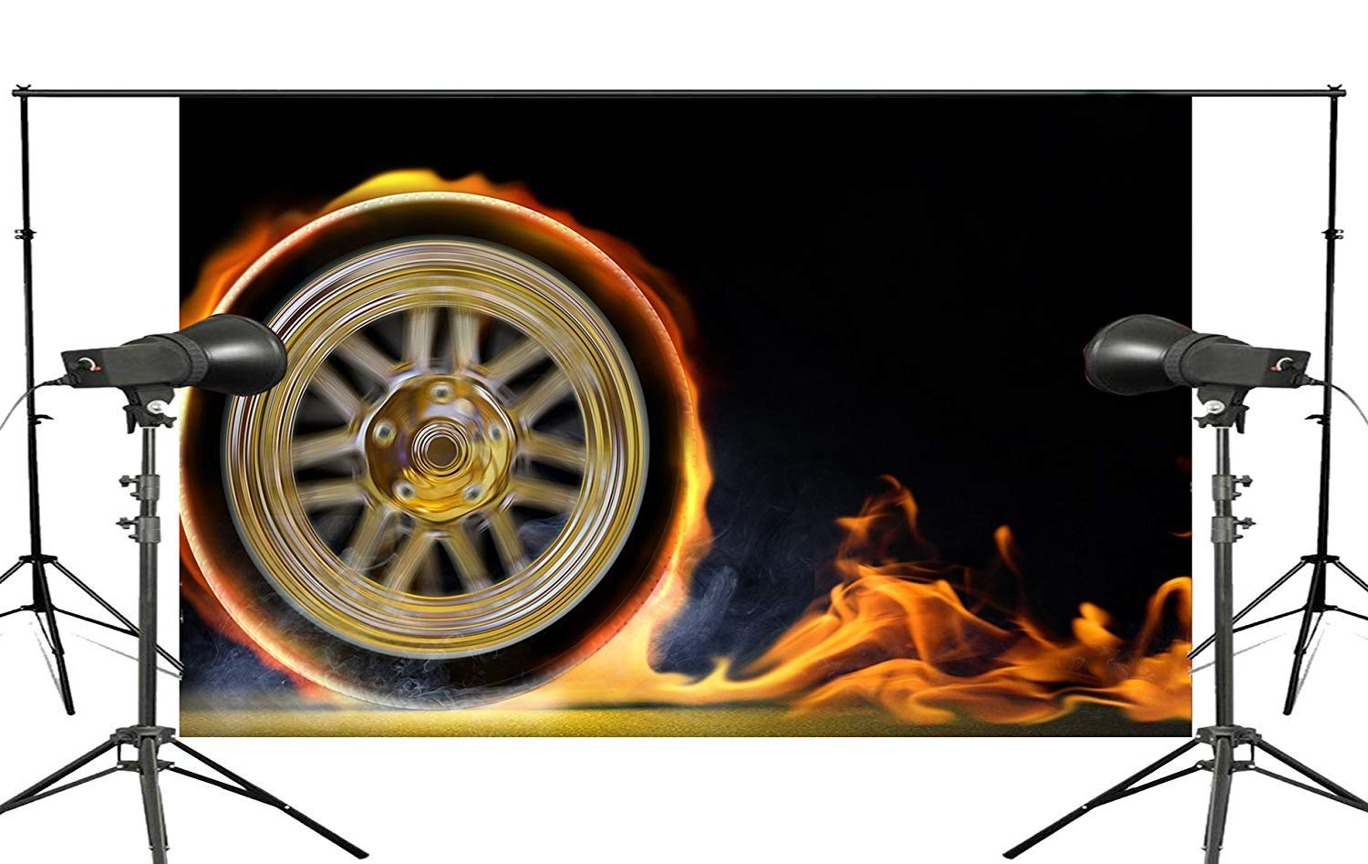 ERTIANANG Black Background fire Wheel Ready to Play The Background of The Venue Studio Photography Background 150x210cm