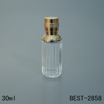 vintage shape clear perfume glass 30ml spray bottle with gold sprayer and cap