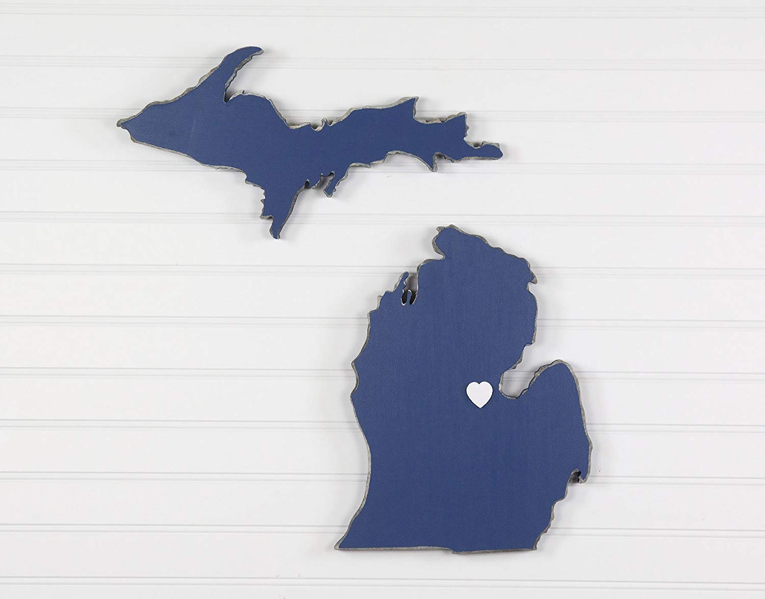 "Michigan State Shape Wood Cutout Sign Wall Art. 18"" Tall. 20 Paint Colors. Personalized with Choice of Wooden Dimensional Heart or Star at Hometown Location."