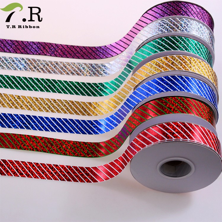 wholesale Diagonal stripes holographic printed celebrate grosgrain ribbon