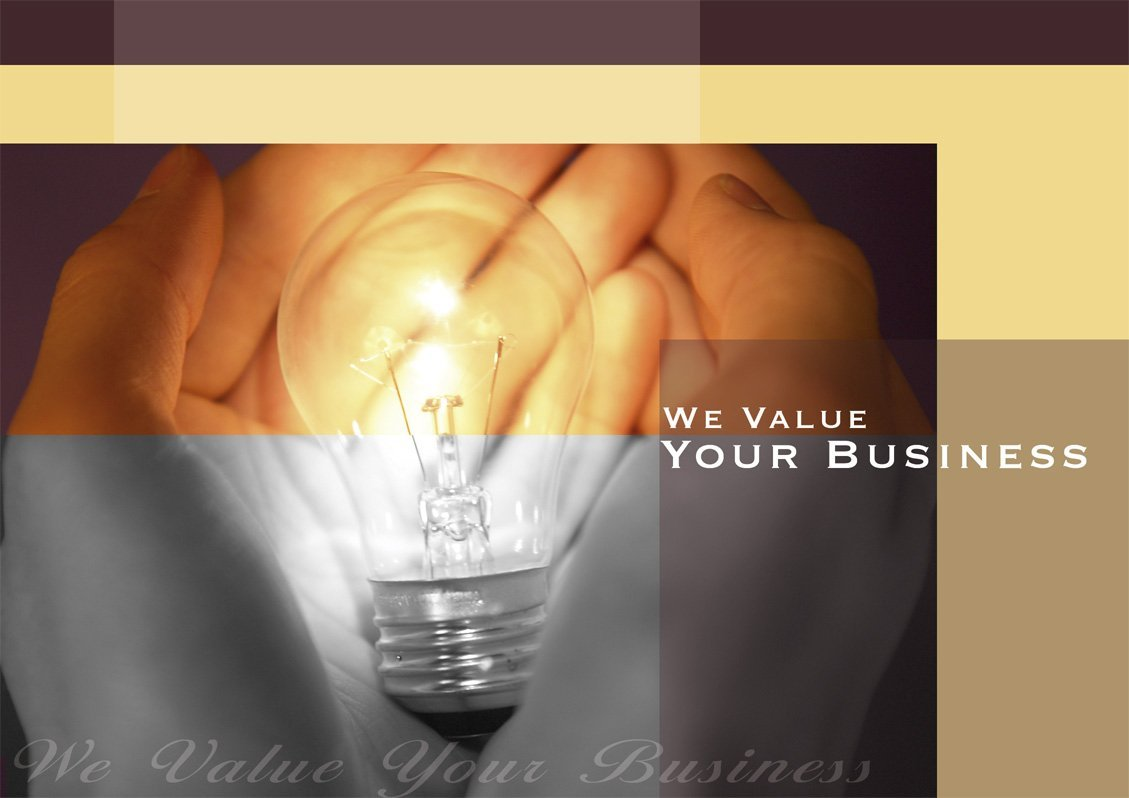 Thank You Greeting Cards - K7005. Business Greeting Card Featuring a Light Bulb and Business Thank You. Box Set Has 25 Greeting Cards and 26 Bright White Envelopes.