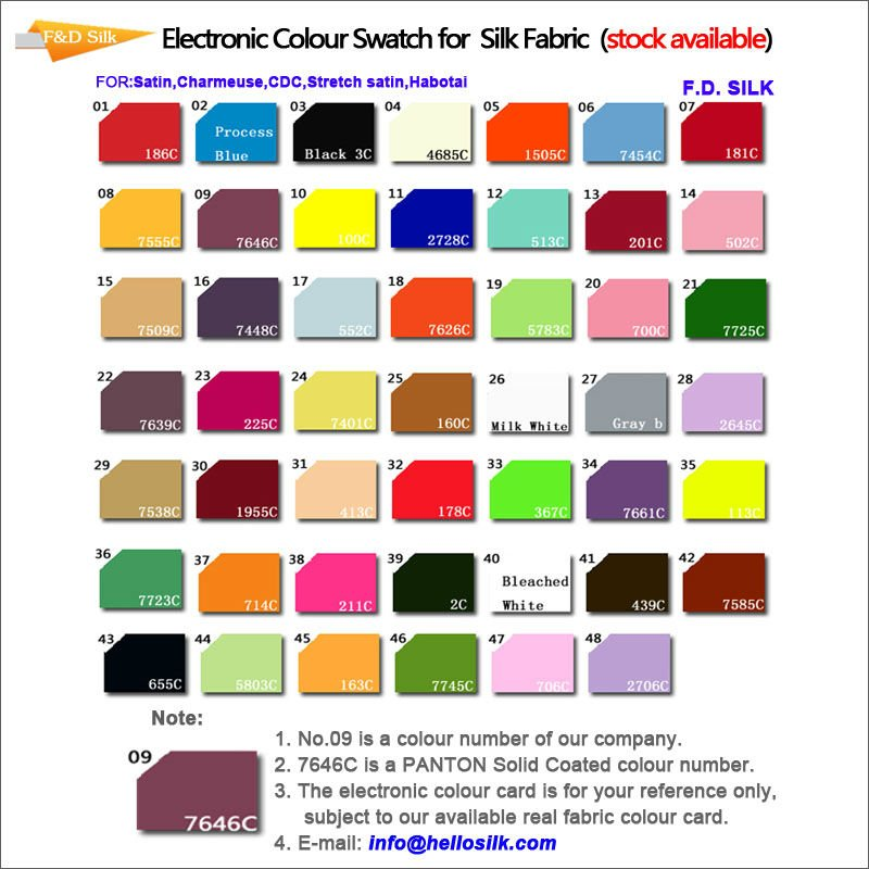 New Electroine Color Chart Modle View Raw Silk Fabric Hellosilk
