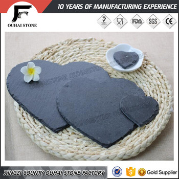 Pure natural material black slate stone heart shape dinner set