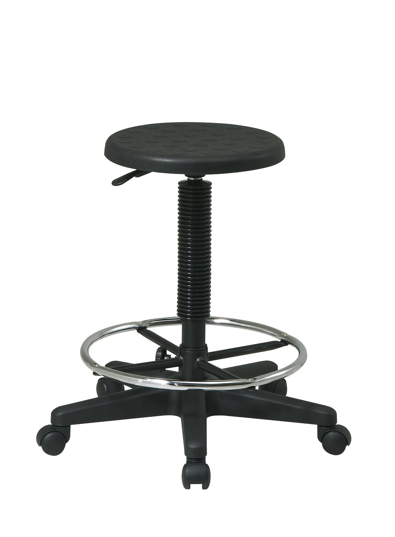 Office Star Urethane Intermediate Stool with Height Adjustment and Adjustable Footrest, Black
