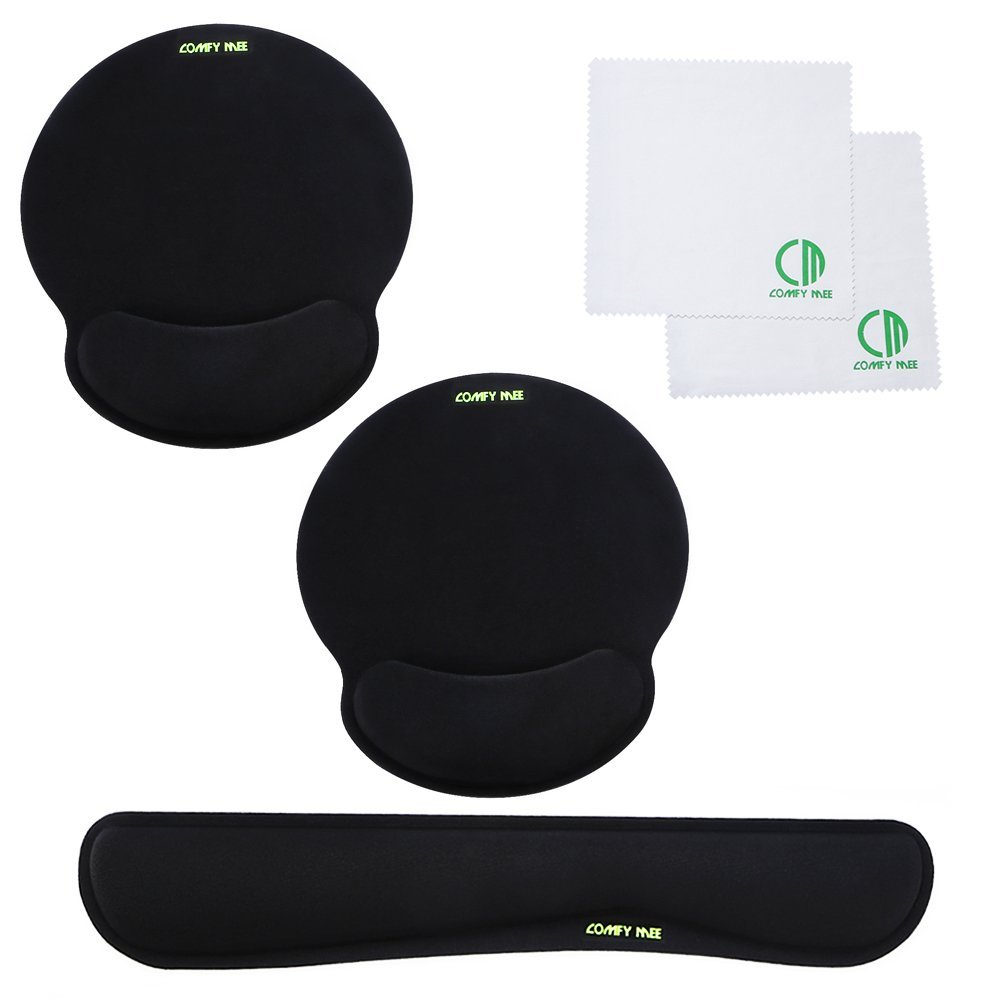 Comfy Mee Premium Memory Foam Keyboard and Mouse Wrist Rest Pads Set- for Comfortable Typing &Wrist Pain Relief –Bonus with 2 Microfiber Cleaning Cloths and 1 More Mouse Pad