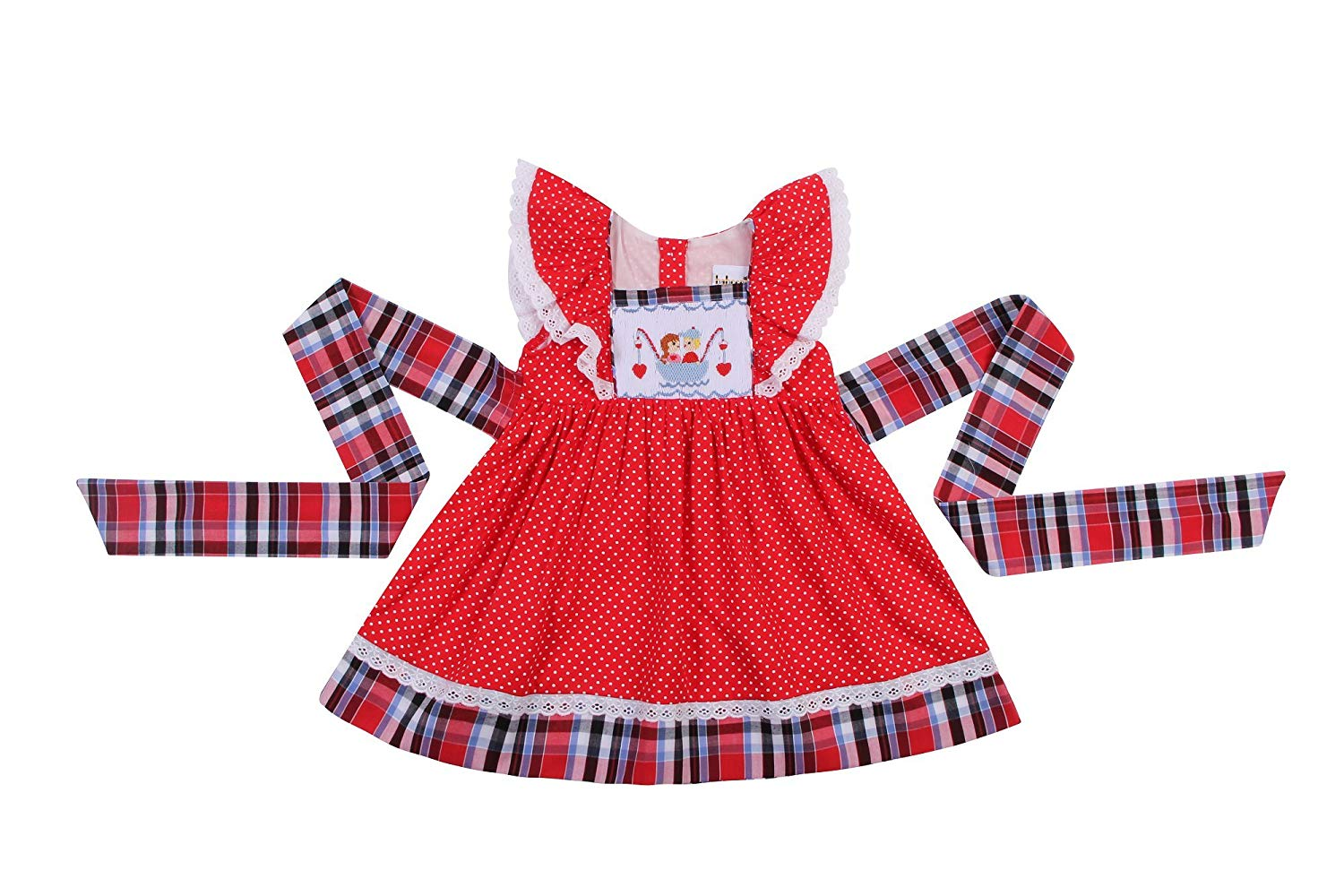 c60c967ac Get Quotations · Babeeni Smocked Dresses for Girls Featured with Angels  Sleeve and Hand Smocked Cute Couple Pattern on
