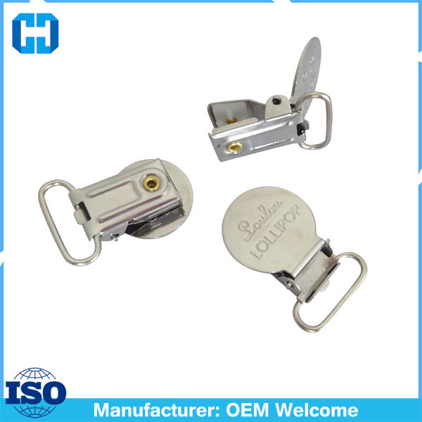 Factory OEM Engrave Logo Stainless Steel Pacifier Clips Suspender Adjuster Clip