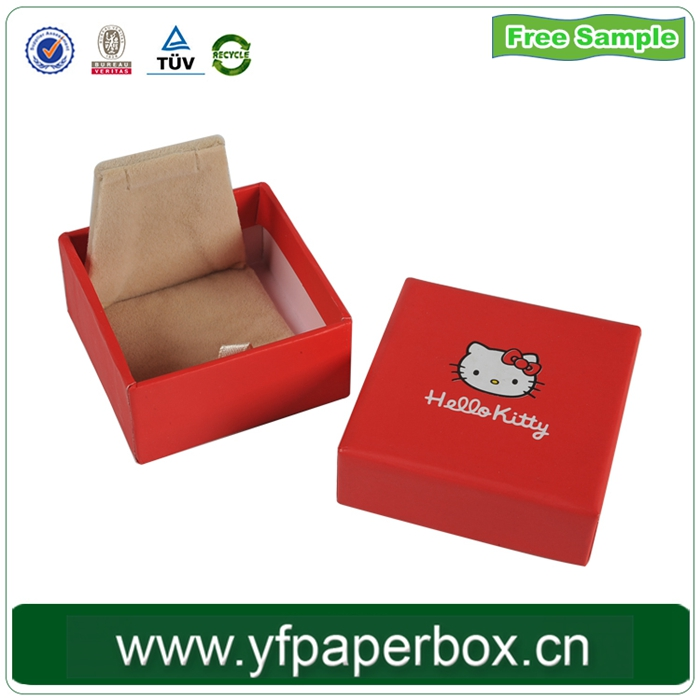 High end jewelry cardboard box and KT cat cutenew design ring jewelry box with inesert/fabric