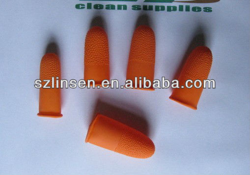 unroll latex finger cot anti-skid orange