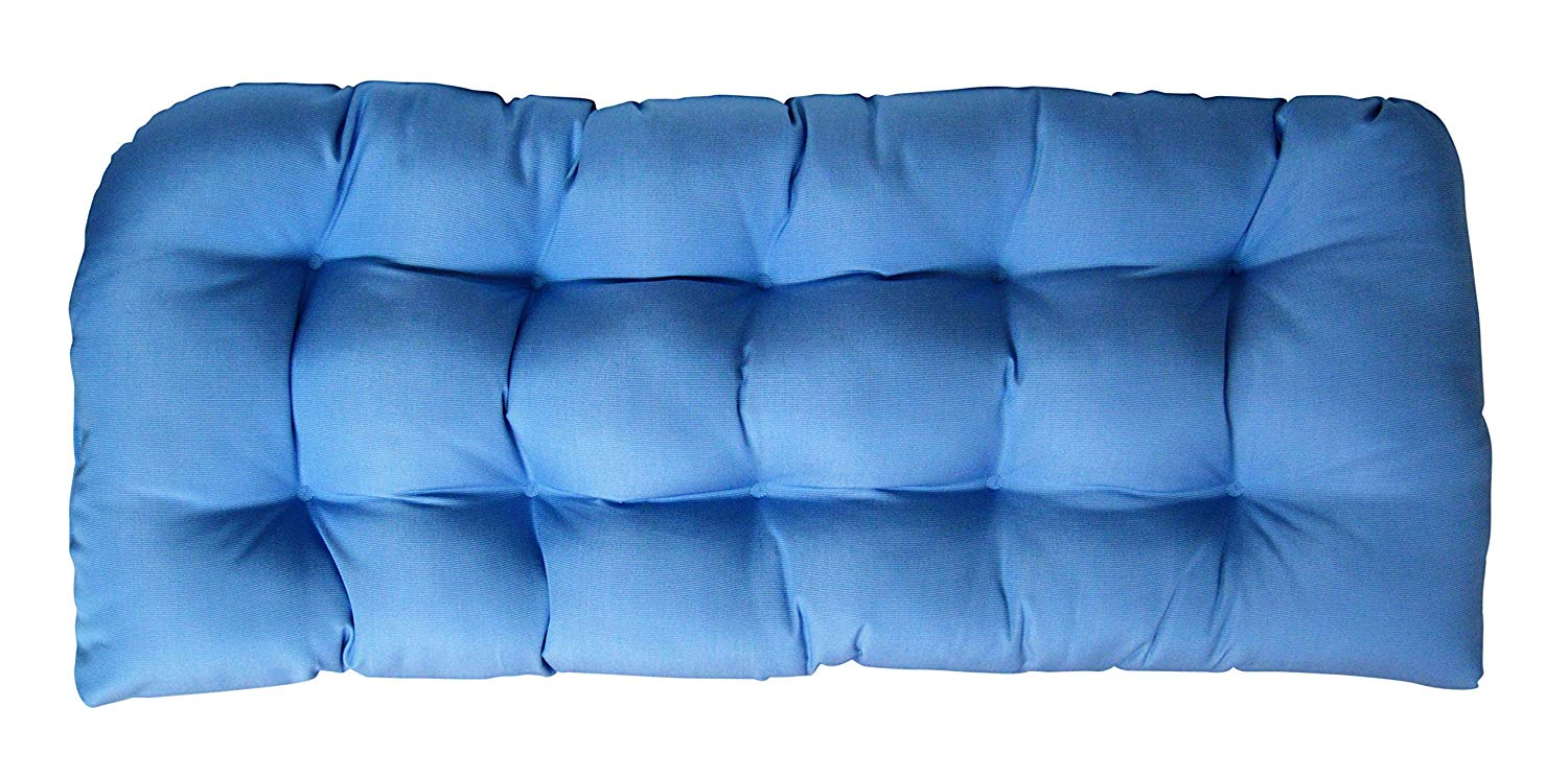 Sunbrella Canvas Air Blue Large Wicker Love Seat Cushion - Indoor / Outdoor 1 Tufted Wicker Loveseat Settee Cushion