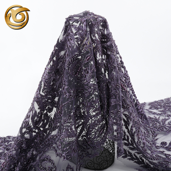 Fashionable quickly delivery ready made luxury purple embroidered beaded lace fabric for dresses