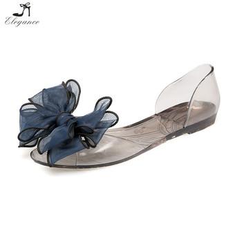 4607b0d31861 Summer Women Beach Transparent Plastic Bowknot Flat Peep Toe Jelly Clear  Sandals