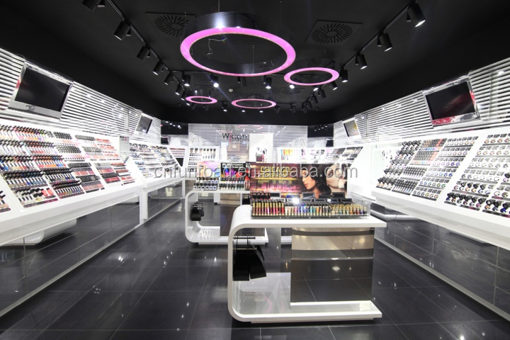 beauty products wooden display showcase furnitures for perfume store design