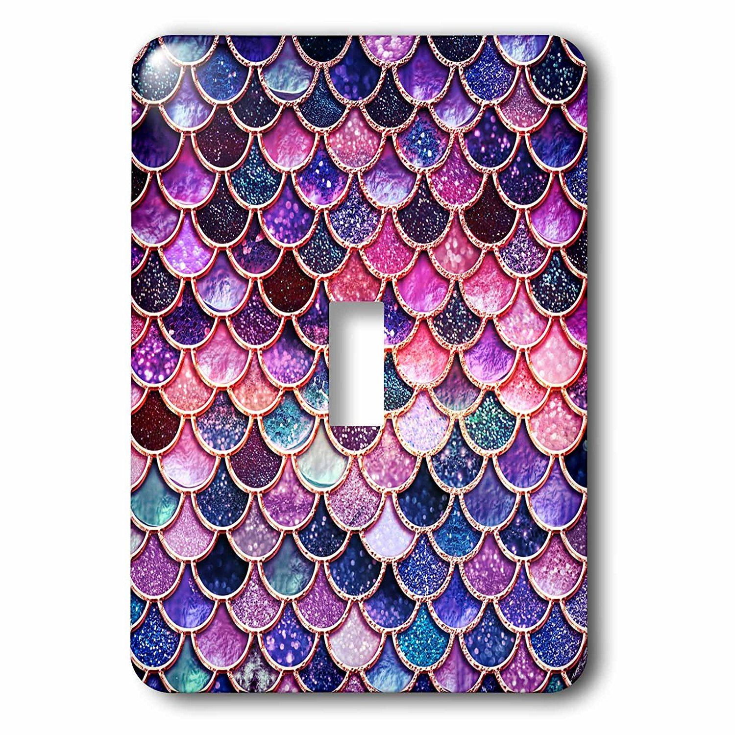 3dRose Uta Naumann Faux Glitter Pattern - Multicolor Girly Trend Pink Luxury Elegant Mermaid Scales Glitter - Light Switch Covers - single toggle switch (lsp_272859_1)
