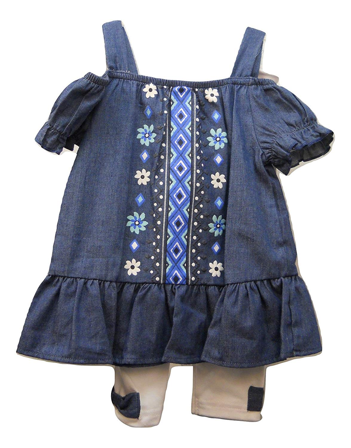 9a3ac8dbdd Get Quotations · Healthtex Girls Tunic Top Legging Set Size 2T Chambray Off  Shoulders