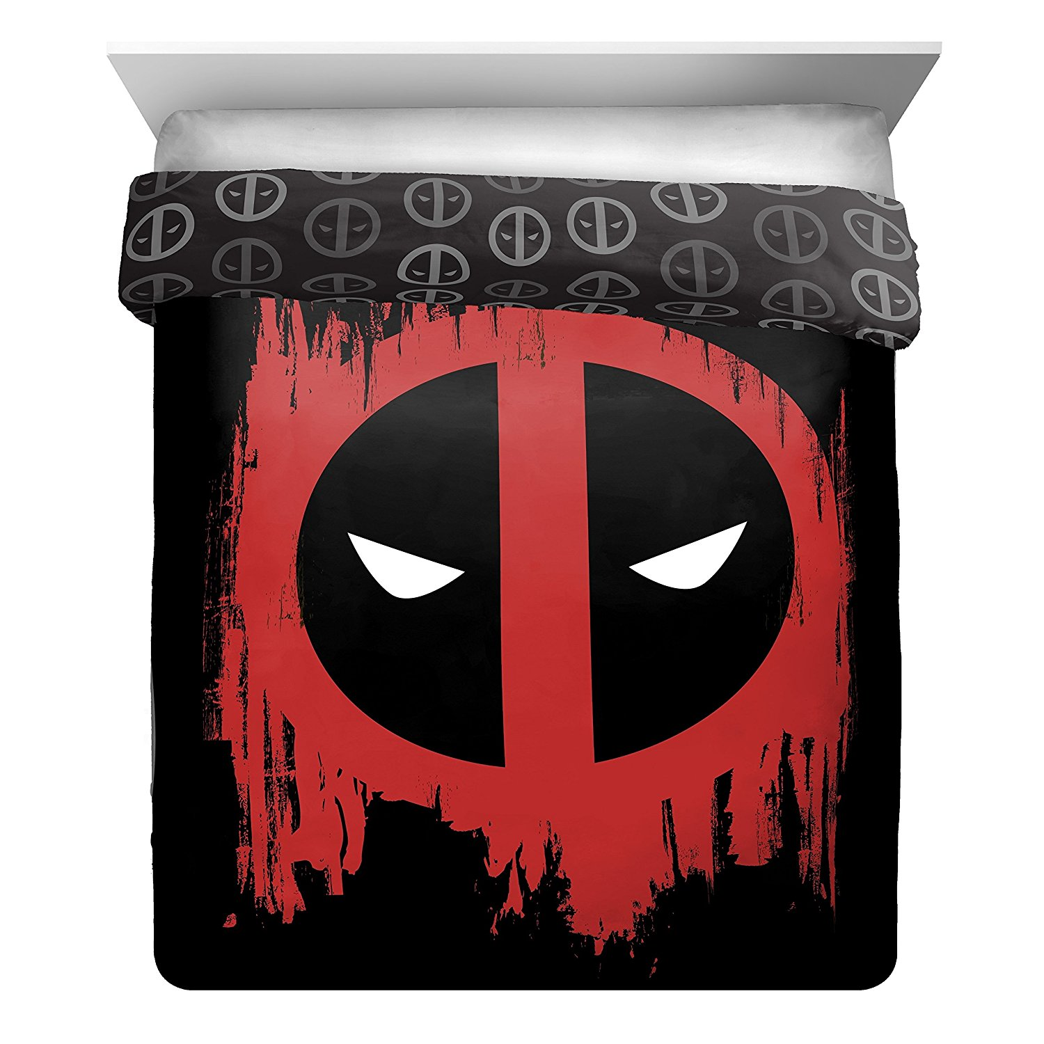 L&M 1 Piece Black Red Deadpool Superhero Theme Reversible Comforter Full Sized, Beautiful Marvel Comic Iconic Superheroes, Animated Movie Character Print Bedding, Bold Colors, Style, Plush Polyester