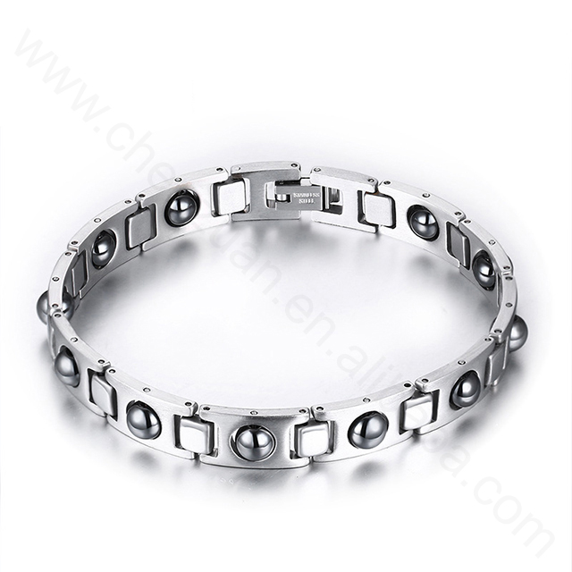 Hot stainless steel magnetic buckle ring, men's charm magnet bracelet steel magnetic bracelet wholesale