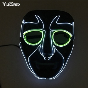 Stage Design Attractive EL Wire Smiling Face Neon Led Funny Batman Mask Diy Dance Carnival Gala Show Decor as Holiday Lighting