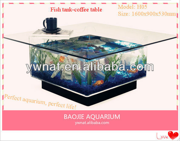 Fish tank-salontafel, koffie tank aquarium, maken aquarium salontafel