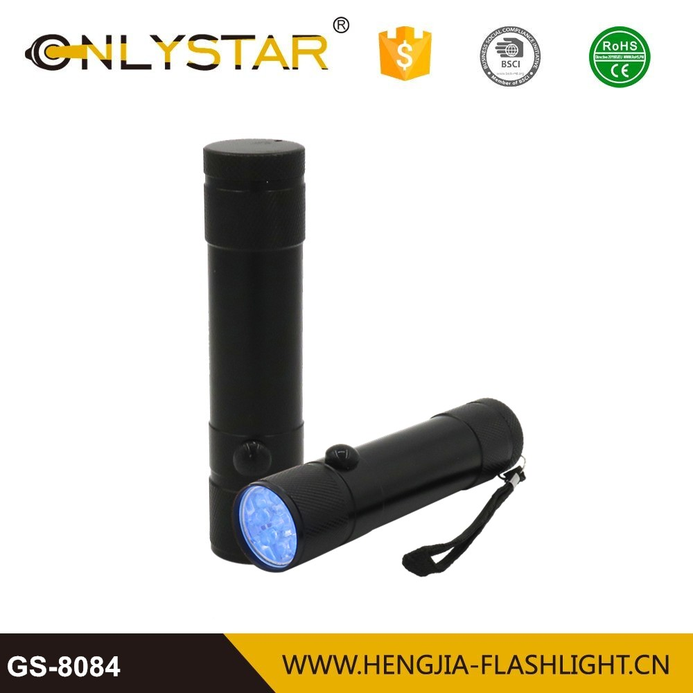 GS-8084 9led aluminum uv flashlight torches deep uv led 365nm