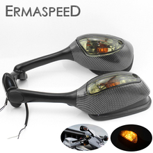 Motorcycle Side Mirrors with Amber Turn Signal Light Carbon Fiber Look Housing Rear View Mirrors for Suzuki GSX-R 600 750 1000