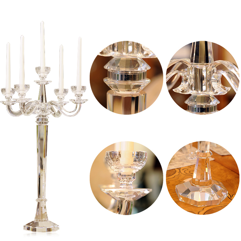Wholesale High Quality 5 Arms crystal clear glass candelabra Candlestick Candle Holder for table Wedding Centerpiece