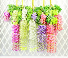 12pcs Romantic artificial silk wisteria hanging flowers hanging fake flower garden home decoration wedding party purple white
