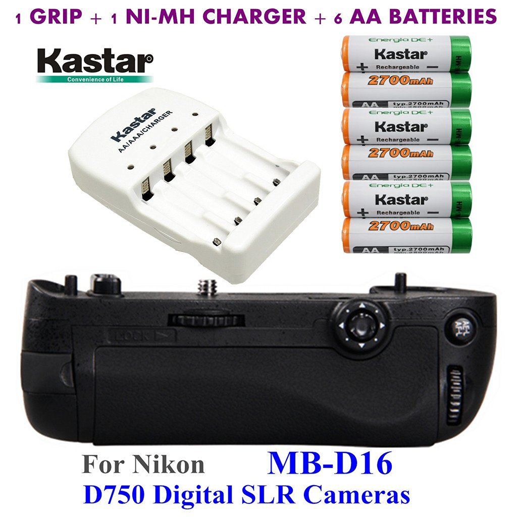 Kastar Pro Multi-Power Vertical Battery Grip (Replacement for MB-D16) + 6x AA NI-MH Batteries(2700mAh) + NI-MH Charger for Nikon D750 Digital SLR Camera