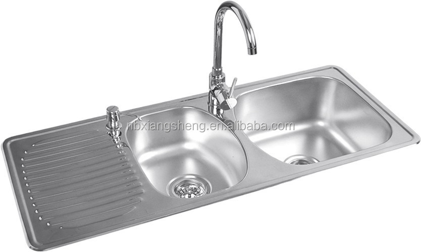 Double Bowl Stainless Steel Sink With Drainboard Double Bowl