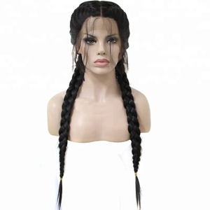Anogol Long Straight Black Synthetic Braided Lace Front Wigs with Baby Hair