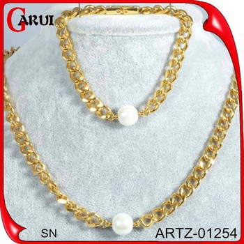 Men Fashion Design Simple Gold Chain Real Pearl Necklace Price