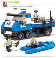 Educational baby toy 3d plastic city police man vehicle model building Kits assembled block children creative