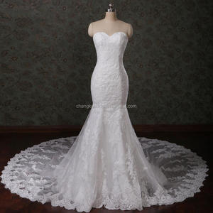Modern Bridal Gowns Sweetheart Crystal Lace Mermaid Long Tail 2018 Wedding Dress