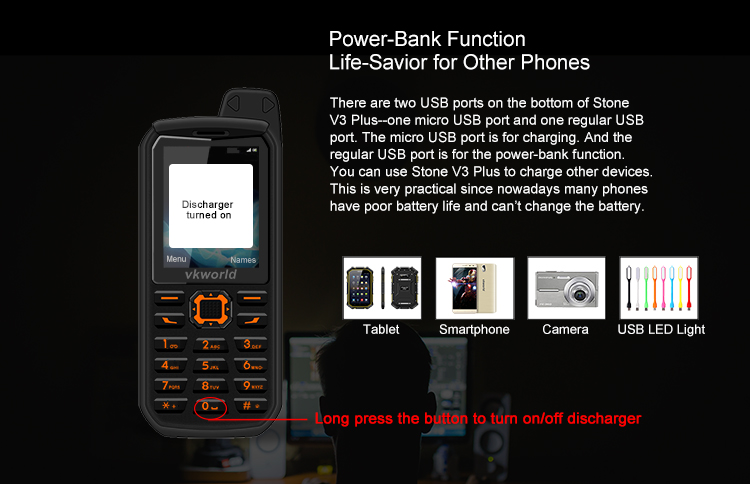 Hot Model vkworld Stone V3 Plus Camera Battery 3000mAh Bluetooth Dual SIM Unlock 2.4 inch Mobile phone Rugged Phone
