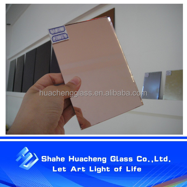 Tinted colored one-way mirror glass