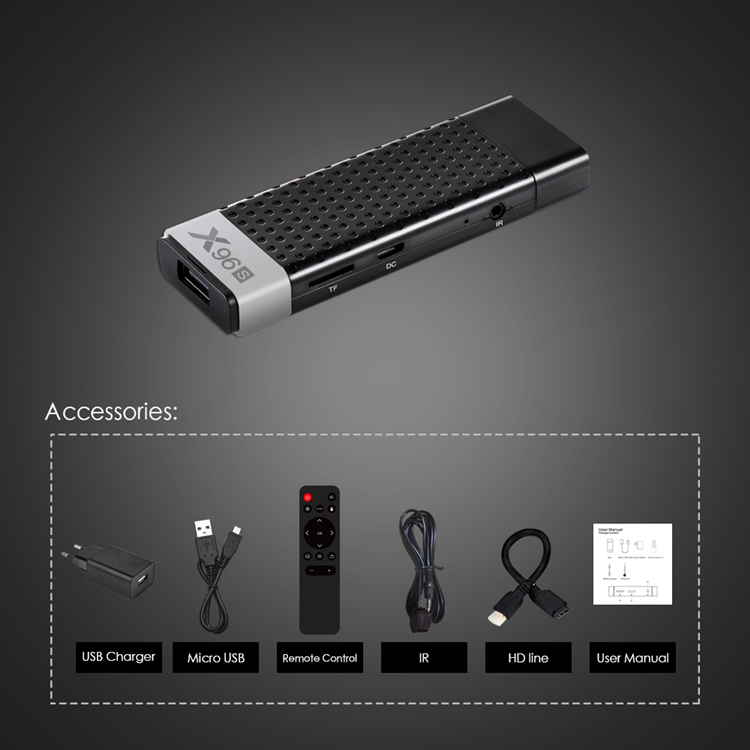 Greatworth Wholesale X96S 2.4G/5.8G Dual WIFI 4GB 32GB Android 8.1 4K HD BT V4.2 smart Android Stick