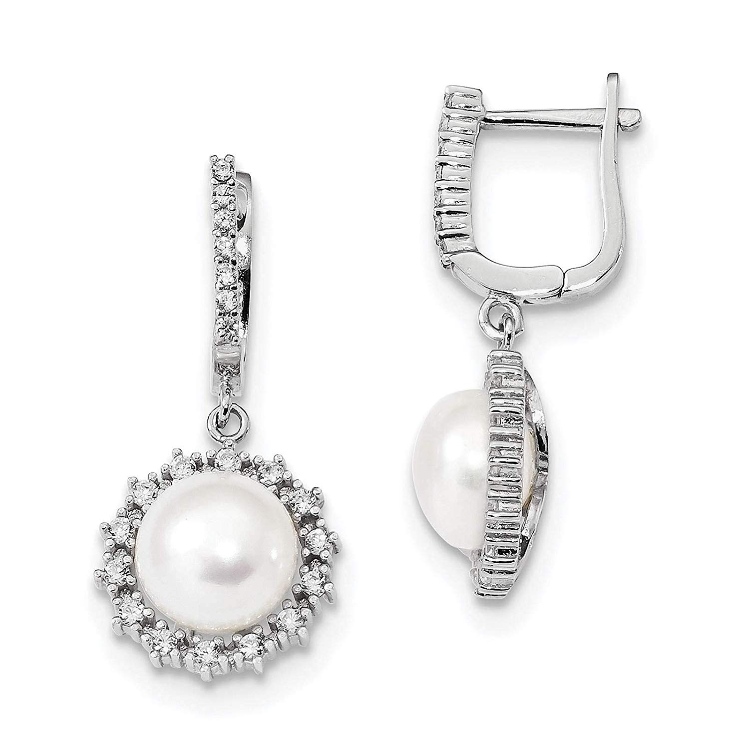 .925 Sterling Silver Rhodium-plated 5-6mm Button Freshwater Cultured Pearl & CZ Dangle Hoop Earrings