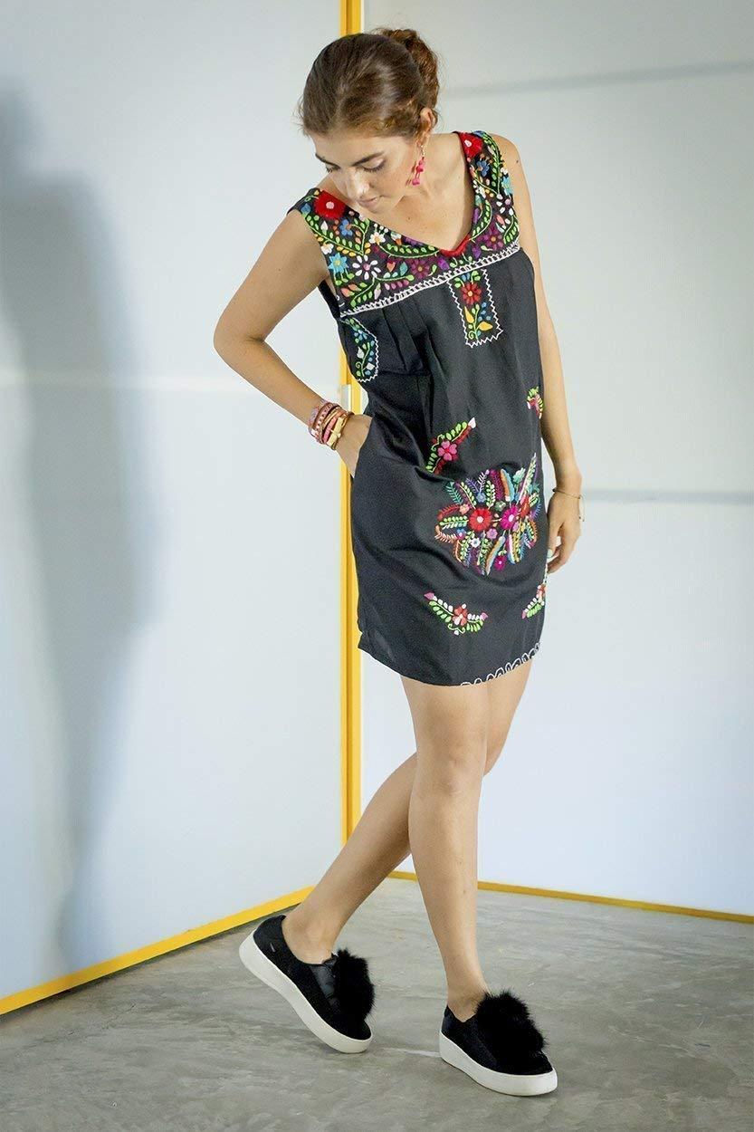 5722d057b8f Get Quotations · Embroidered Bohemian Short Black Dress Shift Dress SIZE MED