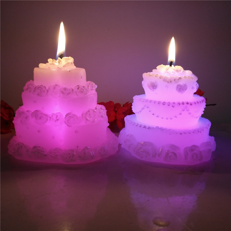 Beautiful Cake shaped battery operated birthday candle