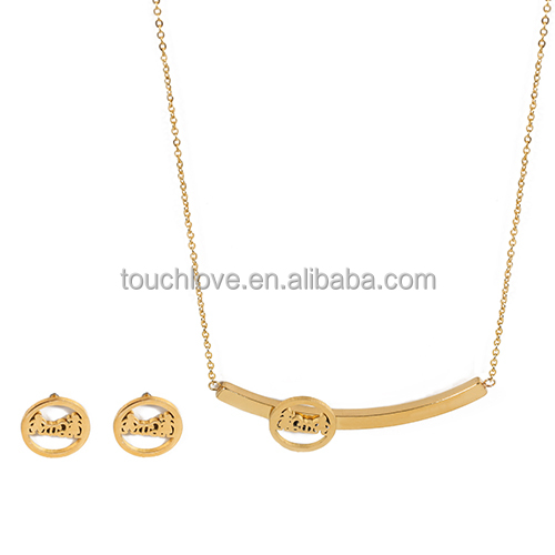 Fashion Gold Jewelry Set Family Love Earring And Necklace Stainless Steel Boy Girl Jewelry Set For Woman Man
