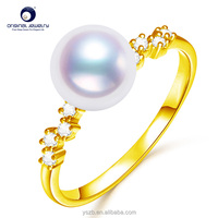 [YS]925 silver classic akoay pearl ring natural seawater pearl ring