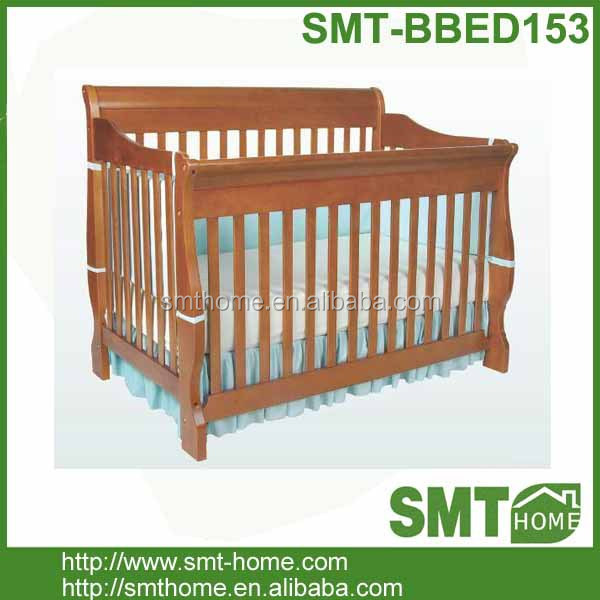 pine wood solid wooden baby sleigh bed cribs