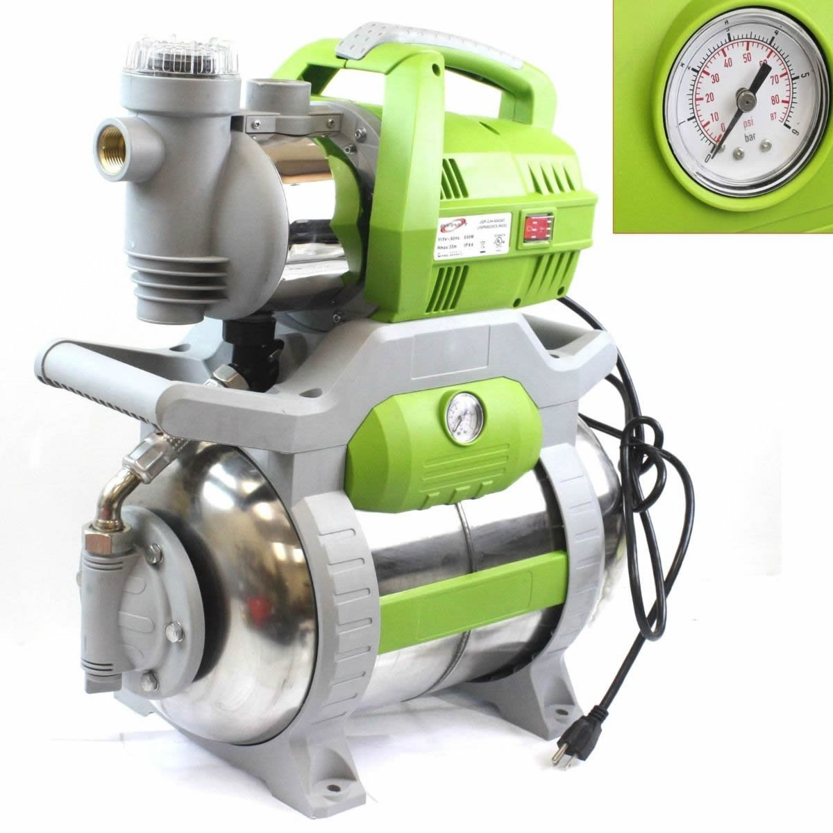 1 Hp Shallow Jet Booster Water Pump W/ Stainless Pressure Tank Sprinkler Home