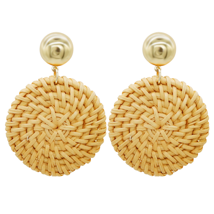 New Style Handmade Acrylic Acetic Acid Geometry Stone Wooden Big Round Circle Rattan Straw Weave Drop Earrings For Women Buy Now Furniture