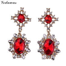 Vedawas Fashion Jewelry Luxury Crystal Rhinestone Beads Dangle Long Earrings For Women Colorful Wedding Drop Earrings