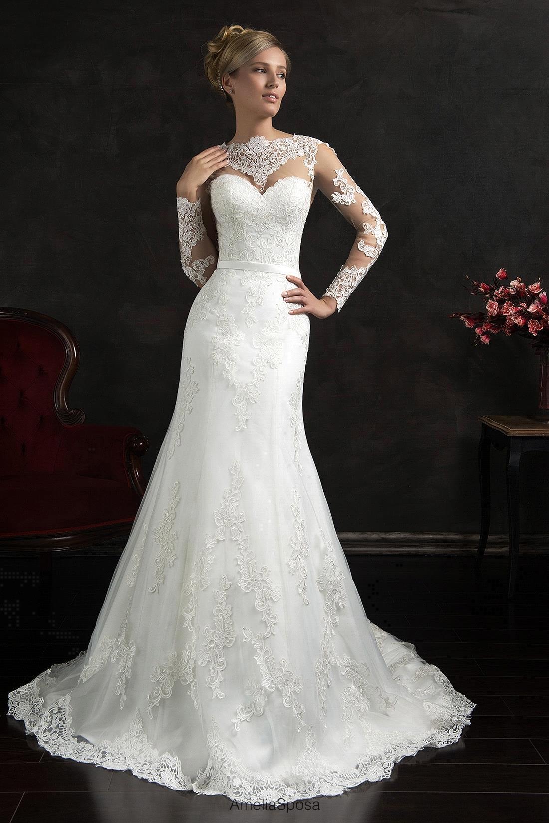 Wedding Dresses 2016 Mermaid Sheer Lace Long Sleeve Open ...