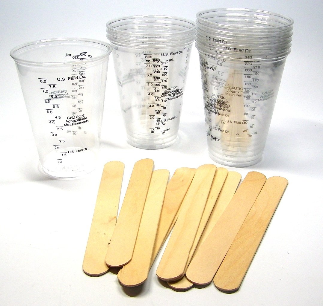 """10 NSI 8oz Disposable Graduated Clear Plastic (PET) Cups and 10 6"""" Wood Stir Sticks for Mixing Paint, Stain, Epoxy, Resin"""